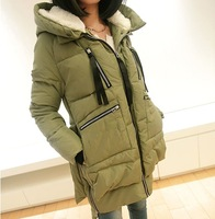 Winter women's plus size cotton-padded jacket winter outerwear female medium-long thickening wadded jacket