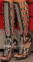 2013 WOMEN'S HIGH-HEELED SHOES LACE STRAPPY HOLLOW OUT KNEE HIGH BOOT STRIPED GLADIATOR SANDALS