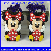 1pcs Free shipping 3D Mickey Mouse Silicone Soft Cover Phone Case For Samsung Galaxy Note I9220 N7000