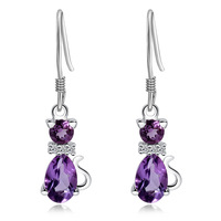 Natural amethyst ear hook 925 pure silver amethyst earrings female accessories elegant cat