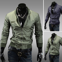 2013 autumn  fashion slim stand collar  casual all-match men outdoor jacket