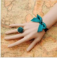 Gothic Lolita jewelry elegant BOW LACE bracelet ring one set dinner dance, sweet sterling silver blue topaz bracelet