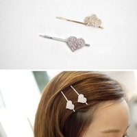 fashion Korea cute Crown Heart Bob hairpins jewelry wholesale Free shipping