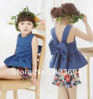 wholesale 2013 new summer fashion denim 2 pcs set, Halter top+floral shorts, girls 2pcs set 5sets/lot free shipping