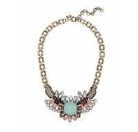 Minimum Order $20 (mixed order)   Fashion glass crystal flower short design necklace
