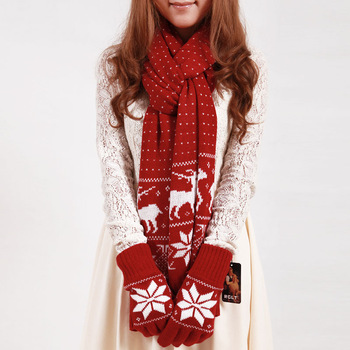 2013 Sweet Women's Thick Knitting Wool Scarf David's Deer Snowflake Design Yarn Long Wraps Fashion Winter Rebozo Free Shipping
