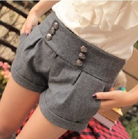 Женские шорты Casual Sequined Button Ornament Women Wool Shorts Black, Gray Plus size Winter Shorts