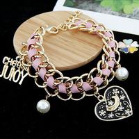 Supply black ribbon character heart pearl flower street style Stretch Bracelet