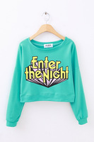 Fashion color loose sweatshirt short high wasit design color block letter sweatshirt