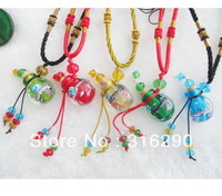 Murano Glass Perfume Necklaces (with cord) Crystal Vial necklaces perfume bottle necklace essential oil bottle necklace