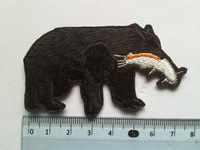 NEW ! 2013 7.5*4cm black bear  Iron On Patches and Ribbon, Made of Cloth Appliques Guaranteed Quality 12pcs/lot Free shipping