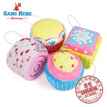 Free Shipping(12pcs/lot) -6*5cm foam cake assorted colors  Christmas tree Decoration ornaments