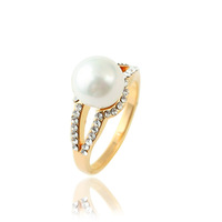 hot sale 2013 metal alloy pearl rhinestones rings high quality ladies finger jewelry TR-2832