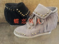 Ash bovine suede tassel rivet small wedges casual 2013