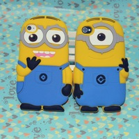 "free shipping 5pcs/lot  new three-dimensional"" silicone Despicable Me"" style case cover  for iphone 4 4s 5 5s case"