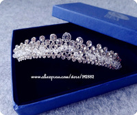 Free Shipping High Quality Korean Rhinestone Crystal Beads Sparkling Small Tiara For Wedding