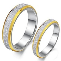 316L Stainless Steel Yellow Edge Silver Sparkle Shimmer Stardust Couple Band Ring Wedding Rings 1 Pair Size 5 6 7 9 10 For Lover