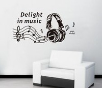 2013 New music sticker Headphones Wall Stickers musical wall stickers background wallpaper wholesale