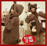 Free shipping 2013 bear cardigan belt the ears plush fleece outerwear thermal thickening sweatshirt