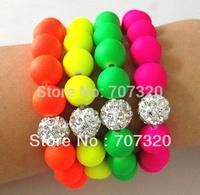Handmade Jewelry Hot Neon Bracelet Fluorescence Candy Color Beads Disco Shamballa Ball Stretch Bracelet