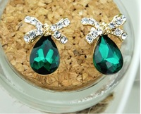Free shipping new fashion cutout green drop crystal bow crystals stud earrings for women quality accessories E352