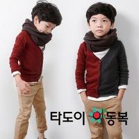 2013 Autumn boys long-sleeved shirt spell color cardigan jacket 1276431204