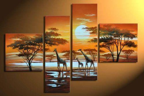 4pc Hand painting Modern Abstract Art Oil Painting Giraffe(China (Mainland))