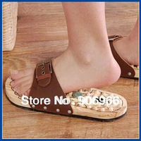 Best selling ! Wooden foot massage slippers cobblestone  Acupuncture Reflexology massager foot slippersFree shipping
