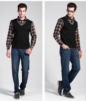 2013 Autumn  Causal   Faux Twinset  Skirt and Sweater Men's V-Neck Long Sleeve Sweaters 3Colors M X XL