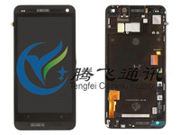 Free shipping for one m7 810e touch digitizer and LCD display with frame and sim card flex for HTC 100% Original black color