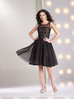 cocktail dress 2013  New Arrival Hot Selling Scoop Neck Knee Length Lace&Tulle Cocktail Dress  black white homecoming dresses