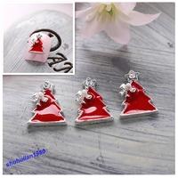 Free Shipping 10Pc Christmas Tree Red 3D Alloy Rhinestone Christmas Nail Art Tips DIY Decoration