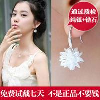 925 pure silver earrings stud earring icepatterned tassel fashion accessories long design hoop earrings