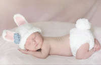 Drop & Free Shipping! Cute Costume Photo Photography Prop Toddler Knit Crochet Beanie Rabbit Baby Hat Cap