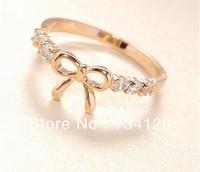 R006 Min.order is $10 (mix order) Fashion Korea rhinestone bowknot Girl  rings wholesale jewelry!Free shipping