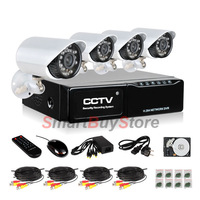 4CH CCTV System Digital Standalone Network DVR +4pcs CMOS 480TVL 3.6MM 24LED IP66 Outdoor IR Camera Kit system,(TK-D4C4)