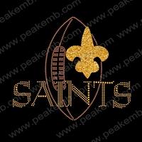 Beauty Fleur De Lis Hot Fix Designs Football Saints Rhinestone Patterns Iron On Wholesale 30Pcs/Lot Free Dhl Shipping