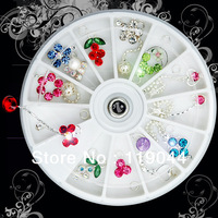 Free Shipping 12 styles Nail Charm Rhinestone Dangles Wheel For Nail Art Tips Decoration NA204