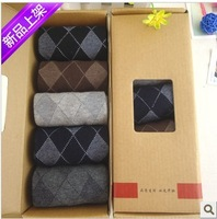 5pairs/lot Free Shipping NEW thicking Men's socks diamond business man cotton socks for winter mix colors