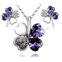 Korean version of the 2013 new fashion elegant sweet joker purple Crystal Clover   Necklace Earrings Jewelry Set S045