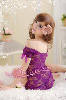 Sexy Women Lady Lingerie+Thong Babydoll Lace Off Shoulder Backless Sheer Mini Dress Underwear Sleepwear Black White Violet