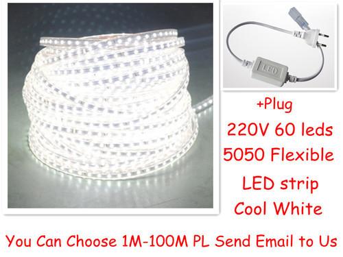 Wholesale10M 5050 LED strip 220V 230V 240V white/warm white Waterproof flexible SMD led strips IP65 + Free Plug(China (Mainland))