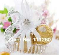 Free shipping DIY Party Favors Container Wedding Candy Packaging - swan shaped with organza & ribbon 50pcs/lot LWB0130
