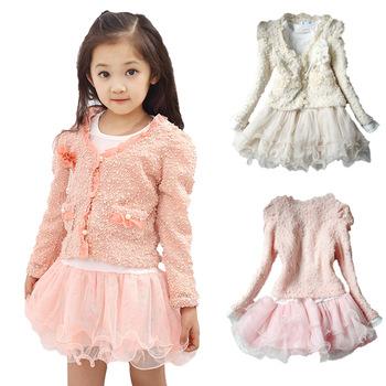 2014 Autumn Fashion Female Child Set Long-Dleeve Dress Outerwear Chiddler Set Supernova Sale Free Shipping
