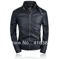 THOOO NEW HOT SALE BLACK BROWN SLIM GENTLEMEN'S pu Faux leather high-quality classic Motorcycle jacket Coat 7 sizesTM201309010