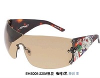 Ed hardy frameless fashion anti-uv sunglasses sparkling diamond
