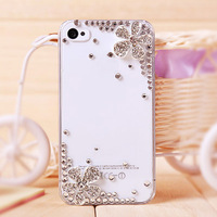 Bling Crystal rhinestones Silver Flower Cover Grass swarovski diamond case PC skin for Samsung Galaxy S3 i9300 Dropshipping