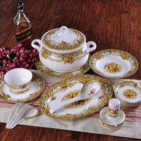 Top glaze quality luxury 56 bone china dinnerware set nine dragon wall chinese dragon