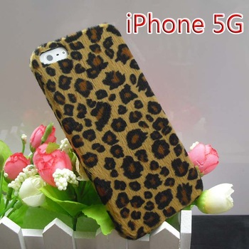 For apple   5 mobile phone case  for iphone   5 leopard print shell plush phone case protective case set