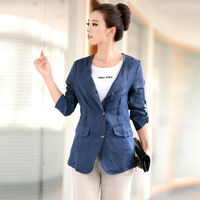 Collarless slim small suit jacket female all-match women's linen 30 women's spring and autumn casual top 2013